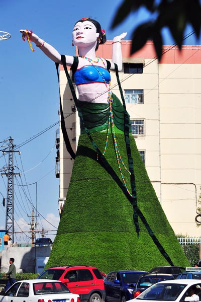 """A """"Flying Apsara"""" sculpture in Urumqi, China mocked as ugly by Chinese netizens."""