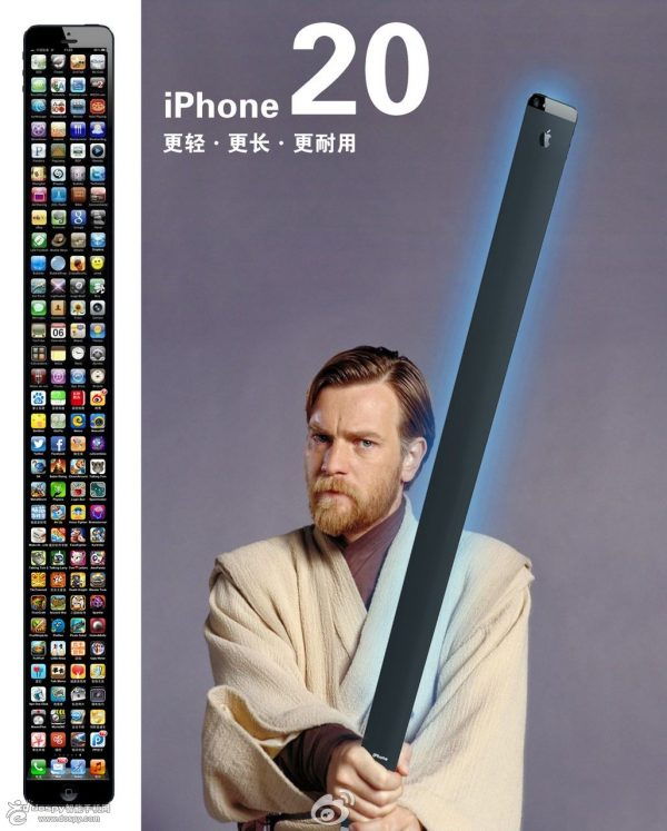 Apple iPhone 20 as a light saber in Obi-wan Kenobi's hands: Lighter, longer, more durable.