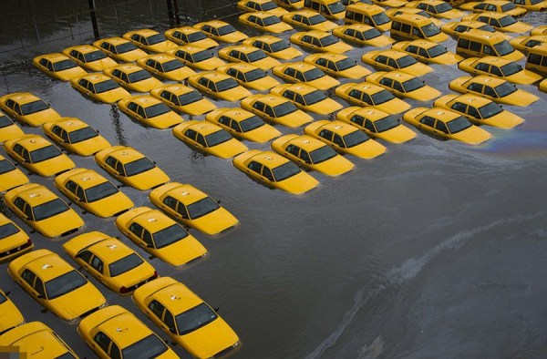 A fleed of yellow taxicabs flooded after Hurricane Sandy.