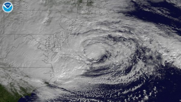 A satellite view of Hurricane Sandy on the east coast of the United States of America.
