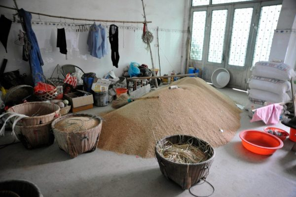 The rice Luo harvested this year is storing at home.