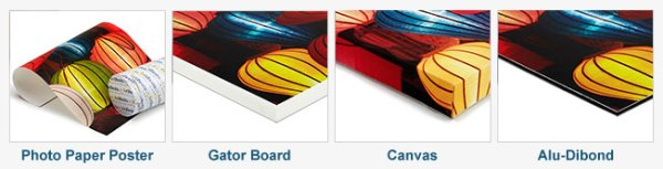 Artifesto printing options: photo paper poster, gator board, canvas, alu-dibond