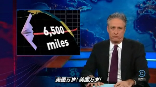 Jon Stewart's The Daily Show, 2013 April 2, North Korea and Kim Jong-un, B2 bombers flying 6,500 miles to North Korea and returning, for lunch.