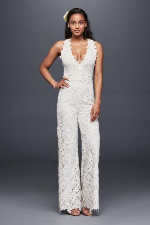 Tuxedo Lapel Bridal Jumpsuit | David's Bridal