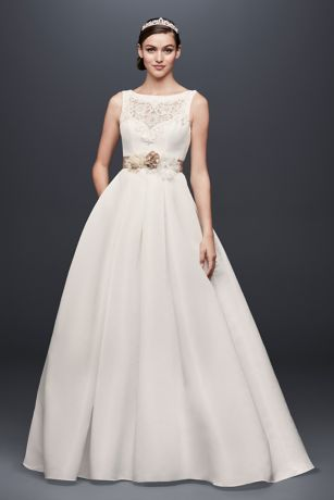 Appliqued Tulle-Over-Lace A-Line Wedding Dress   David's ...