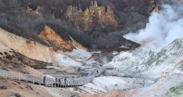 北海道、登別|登別地獄谷 - 鐵鏽般的大自然色彩,冒著白色煙霧的地獄溫泉景觀