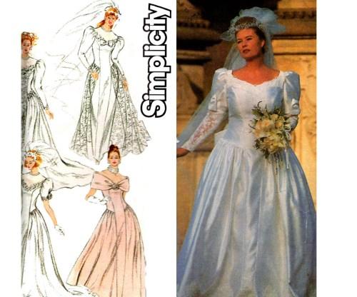 Garage Plus Size Wedding Dress Pattern Simplicity Princess Seams Fullskirt Puff Sleeves Train Size Uncut Factory Fed Size Wedding Dress Pattern Simplicity Princess Seams