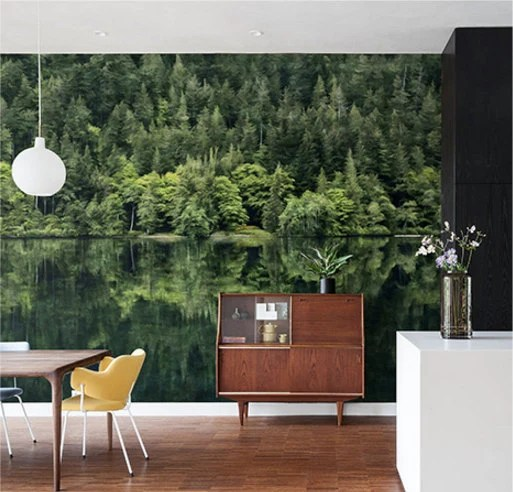Items similar to Mirror Lake Wallpaper Oil Painting Effect Wall Mural National Forest Wall Art ...