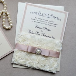 Exquisite Lilian Rosette Lace Wedding Invitation Blush Ivory Rosette Pocketwith Pink Pearl Button Swarovski Crystals Lilian Rosette Lace Wedding Invitation Blush Ivory Rosette