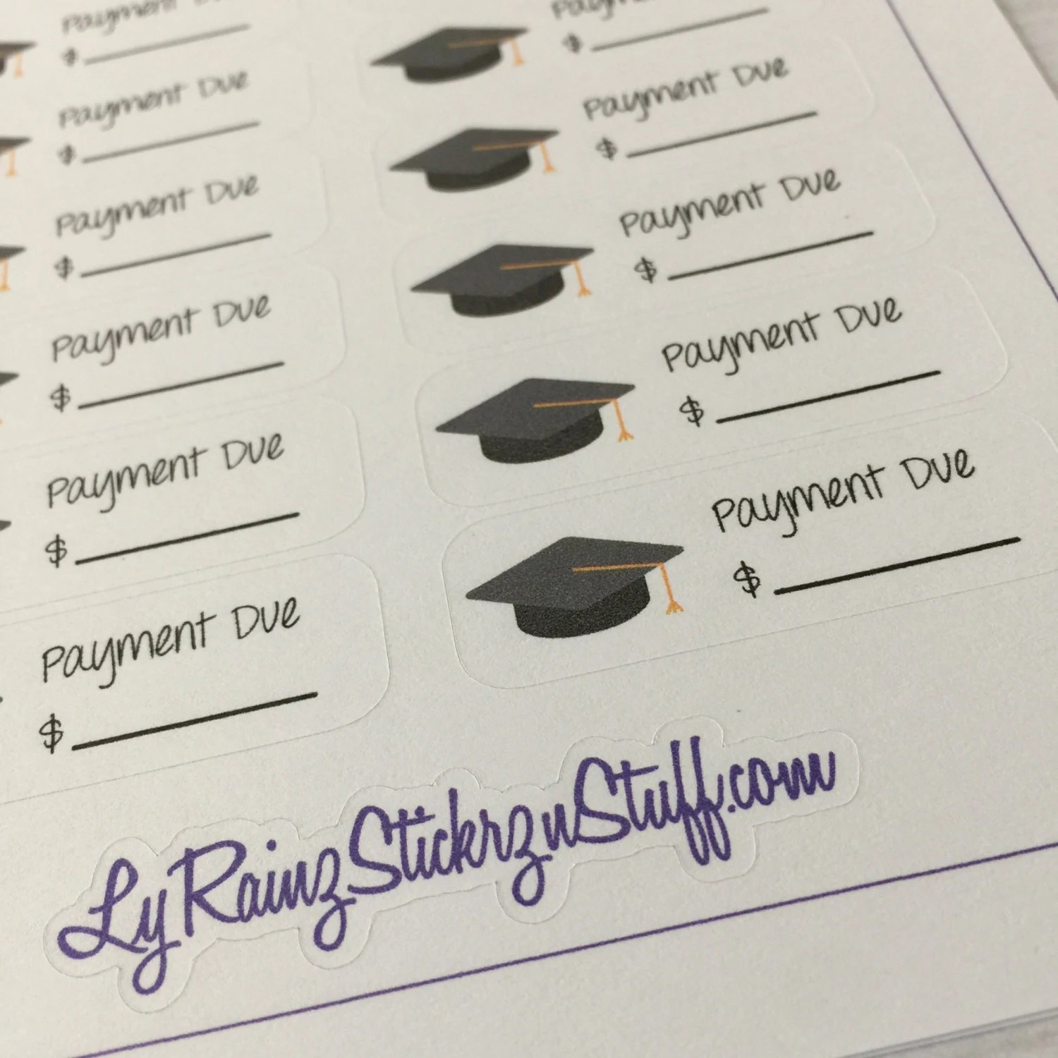 Student Loan Payment Due Sticker Strips for the weekly layout
