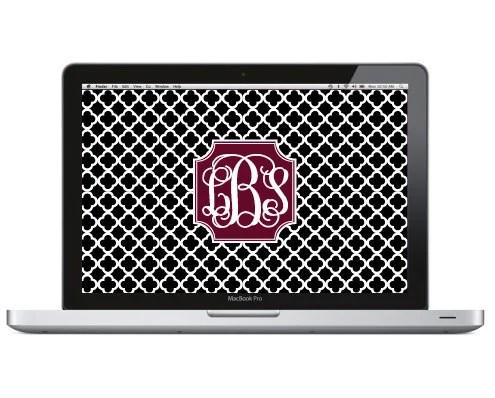 Monogram Laptop Wallpaper Quatrefoil