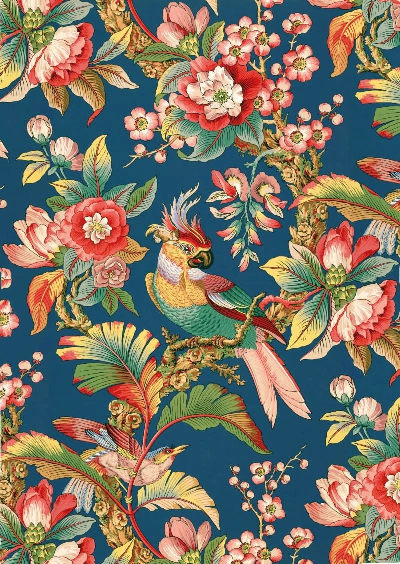 antique french chinoiserie wallpaper tropical birds peony