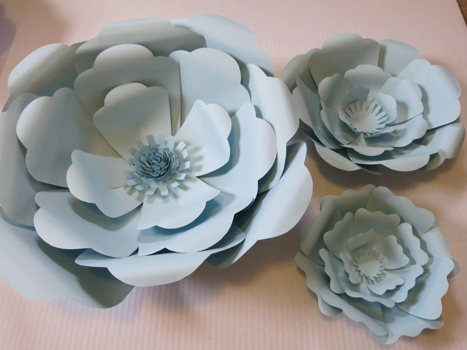 Set of 3 Pastel Blue Giant Paper Flowers Light Blue Roses