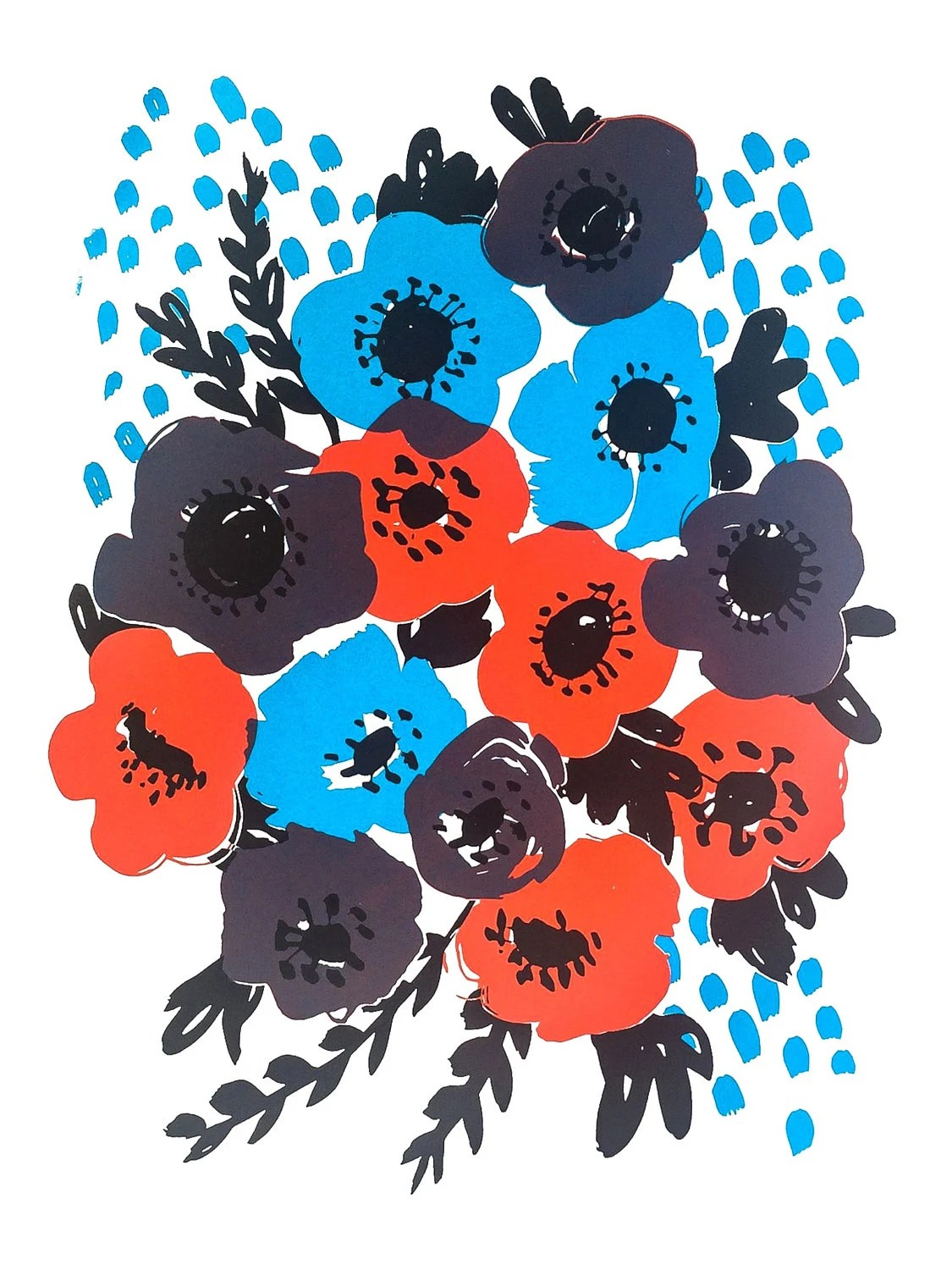 Anemone Blue Screenprint...