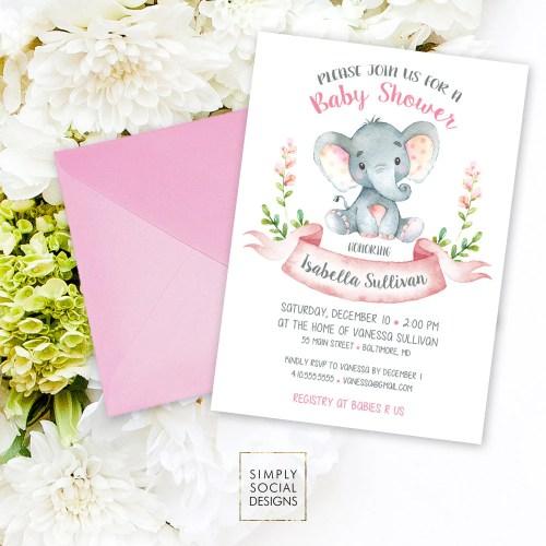 Medium Crop Of Elephant Baby Shower Invitations