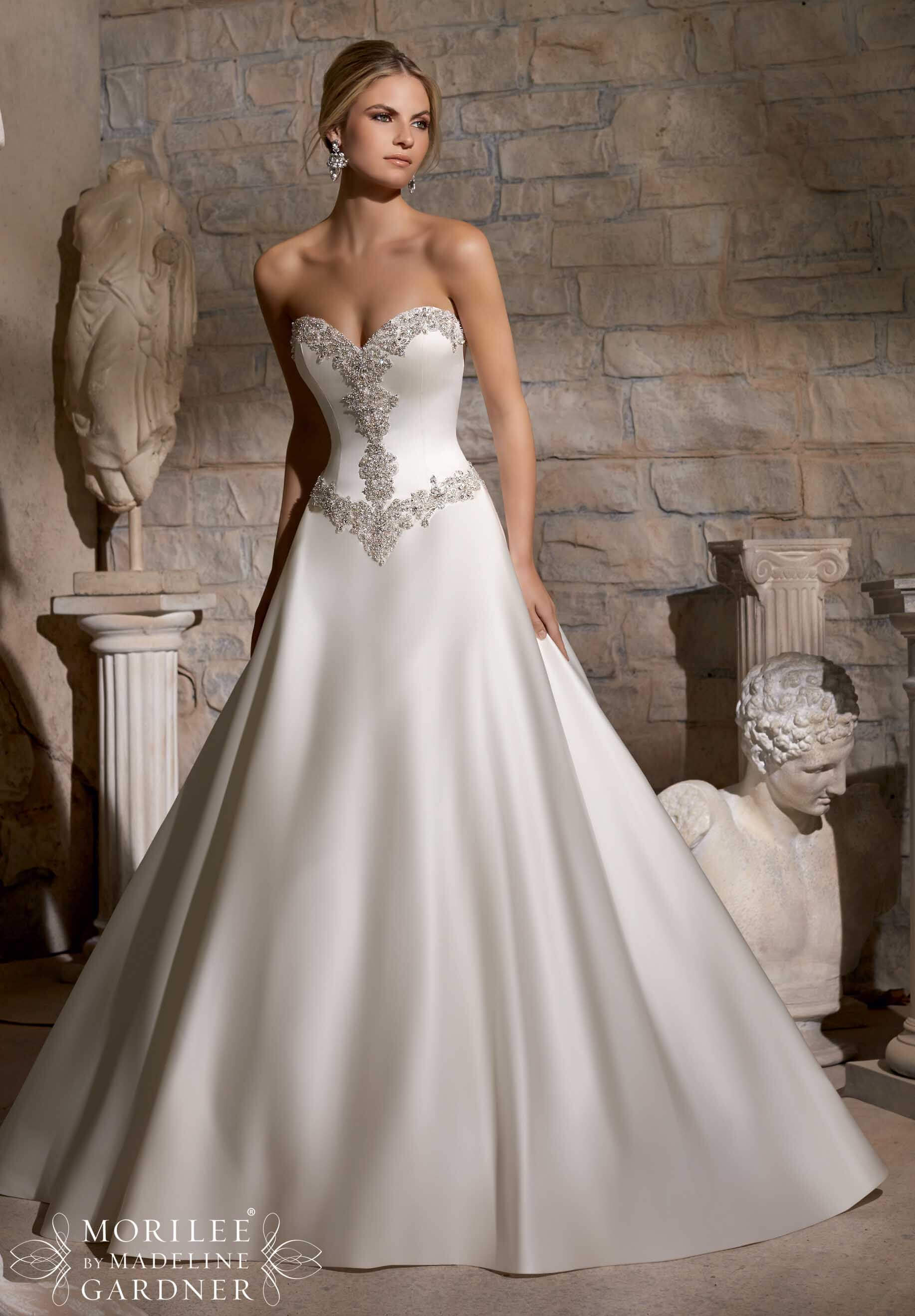 wedding dresses aline style a line wedding dresses Ss Satin Dress With Beaded Detail