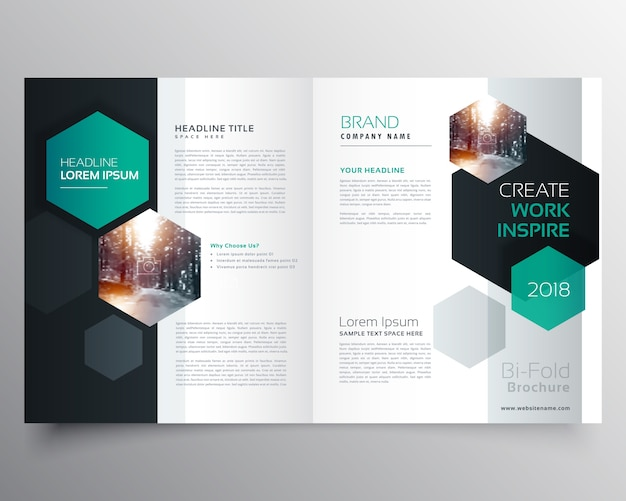 Brochure template design Vector   Free Download Brochure template with hexagonal shapes