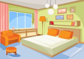 Vector Cartoon Ilration Interior Orange Blue Bedroom A Living Room With Bed