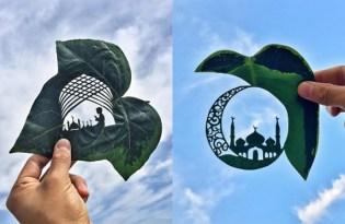 [設計工藝]哈薩克出品「樹葉剪影藝術」