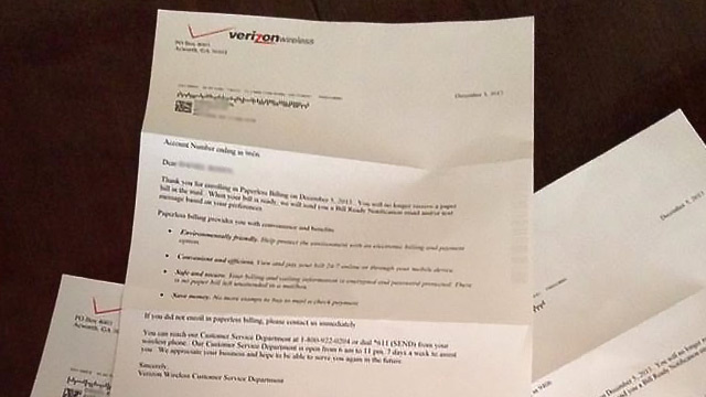 Verizon Confirms Paperless Billing by Mailing Four. Different. Letters.