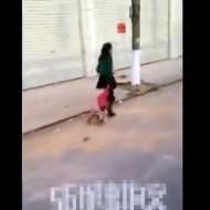 【閲覧注意:虐待】路上で泣いてる子供を叩いて引きずる母親