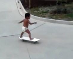 【衝撃:天才】2歳の子供のスケボーテクがやばすぎるwww