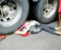 【閲覧注意】トラックの下敷きになった女性・・・頭の上にタイヤが乗ってる・・・