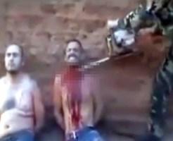 【グロ:鳥肌】チェーンソーで縛った男の首を斬っていく鳥肌映像