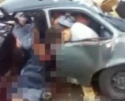 【ショッキング】乗用車の中で押し潰されてひき肉になった家族