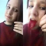 【閲覧注意】ロリ美少女が自分の舌を切り刻む自虐行為・・・