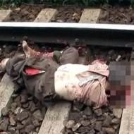 【グロ動画】電車に飛び込んだおじいちゃん・・・手足と入れ歯が吹き飛んで死亡