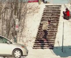 【DQN事故】階段をスノボジャンプ台にしていたDQNに天罰が下るwww ※動画あり