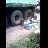 【グロ注意】なぜ・・・?人を轢いたまま発進しようとするトラック・・・