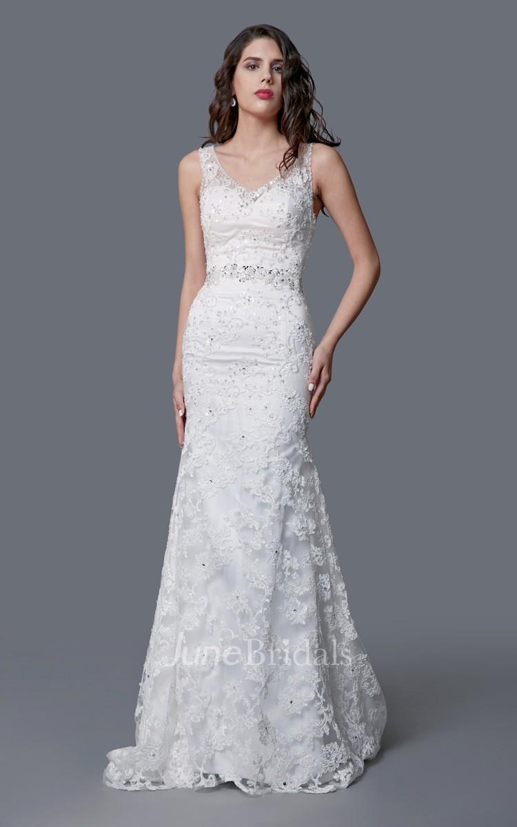 s vintage wedding dresses retro wedding dress Amazing V neck Lace Mermaid Dress With Illusion Back