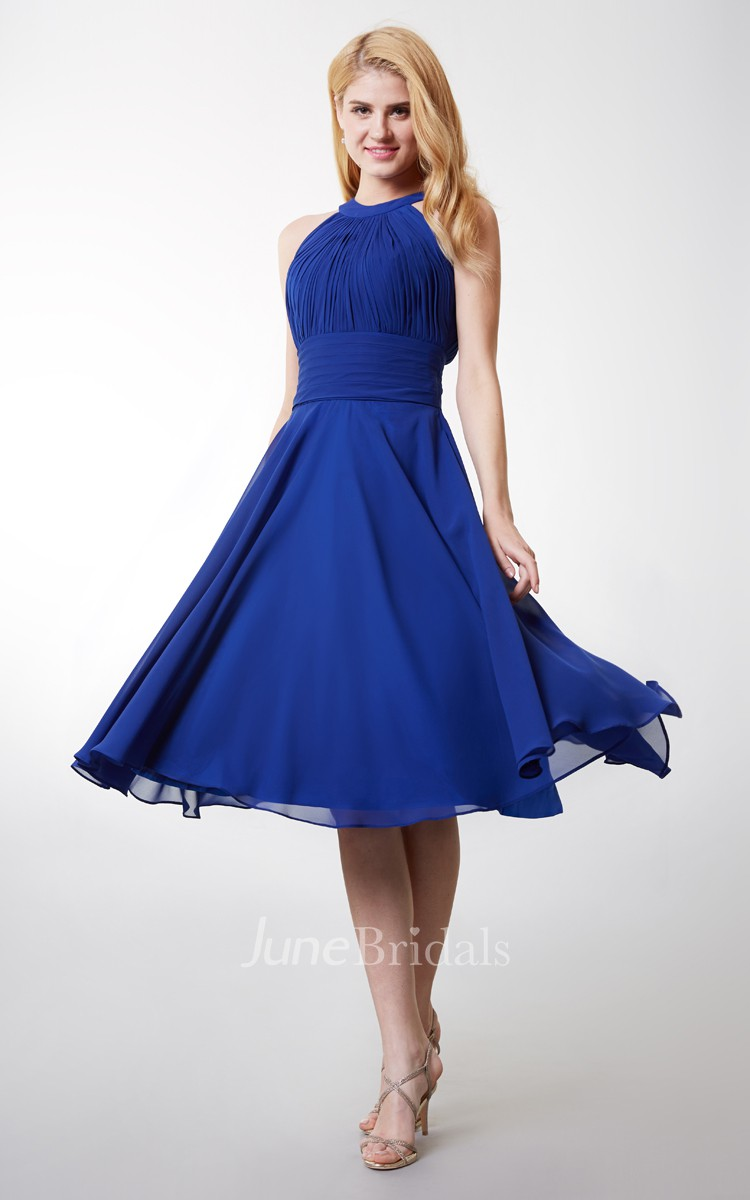 royal blue bridesmaid dresses royal blue wedding dress A line High Neck Tea Length Bridesmaid Dress With Keyhole Back