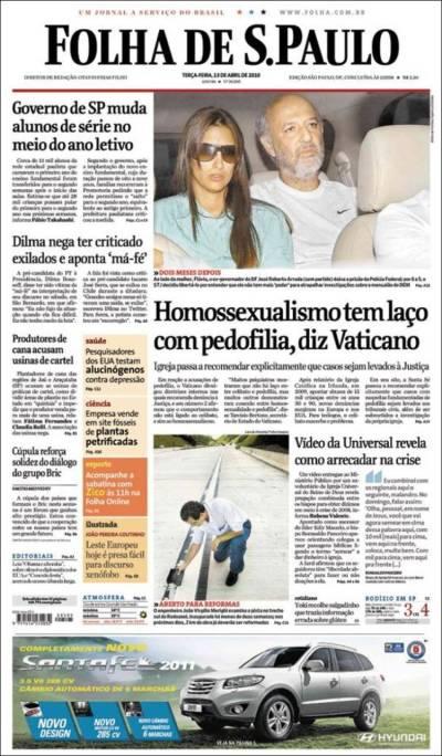 Newspaper Folha de São Paulo (Brasil). Newspapers in Brasil. Tuesday's edition, April 13 of 2010 ...