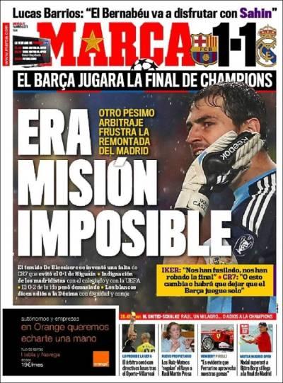 Newspaper Marca (Spain). Newspapers in Spain. Wednesday's edition, May 4 of 2011. Kiosko.net