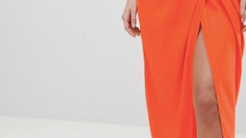 ASOS DESIGN twist front drape maxi skirt