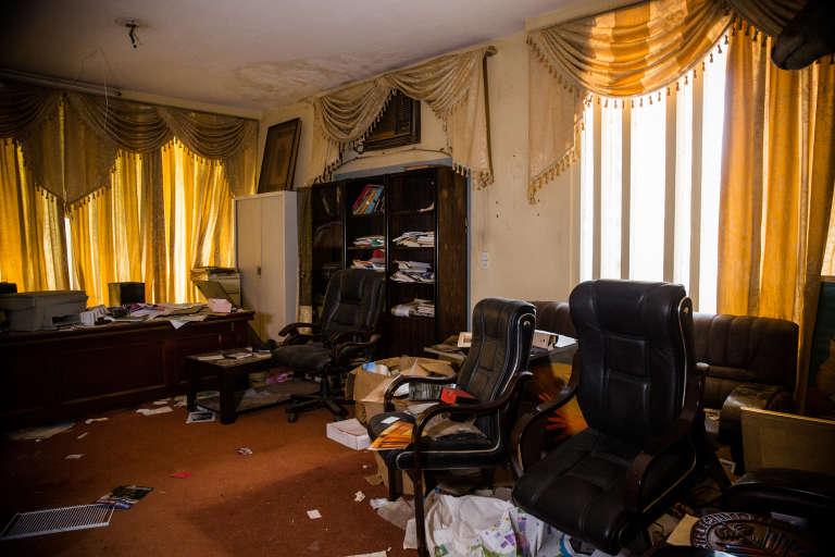 La salle du Conseil de l'entente, à Ouagadougou, où Thomas Sankara et les membres de son cabinet spécial ont été surpris par une attaque armée le 15octobre 1987.