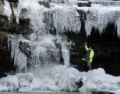 Frozen cascade on Summerhill Force in County Durham