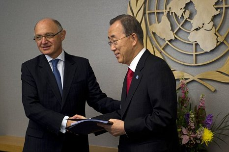 Argentina foreign minister Hector Timerman and United Nations secretary general Ban Ki-moon