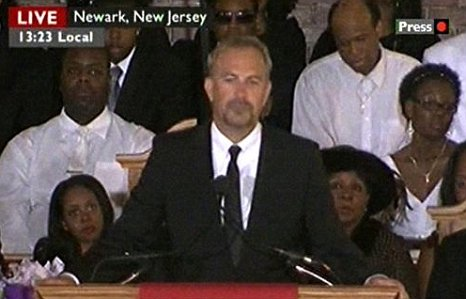 Kevin Costner Whitney Houston funeral