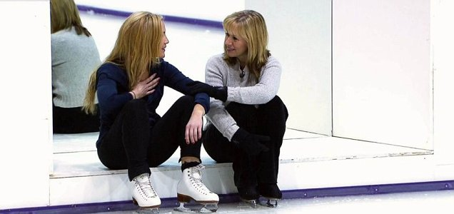 Heidi Range takes a breather during Dancing On Ice training (Picture: ITV)