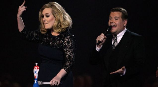 Adele  flips the bird The Brits being cut off Blur