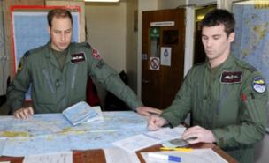 The Duke of Cambridge prepares to fly over the Falklands (MoD/Getty Images)