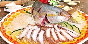 桃園大園美食 賜福船長的店 竹圍漁港餐廳推薦 無菜單料理 8000元海鮮饗宴 免費停車場 聚餐聚會 有收服務費