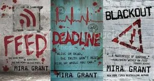 The covers of all three books in the trilogy - Feed, Deadline and Blackout