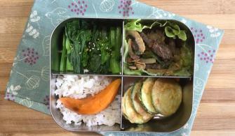 【便當日記】#79 韓國烤肉與櫛瓜小圓餅Bento #79 Korean BBQ Beef, Pan-fried Zucchini Fritters