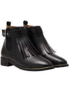 Black Chunky Heel Tassel PU Boots