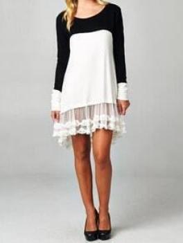 Black White Round Neck Sheer Lace Drop Waist Dress
